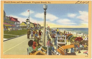 Beach scene and promenade, Virginia Beach, Va.