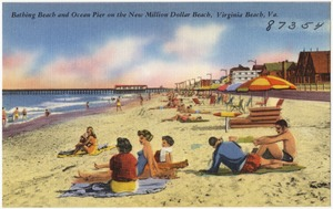 Bathing and Ocean Pier on the new million dollar beach, Virginia Beach, Va.