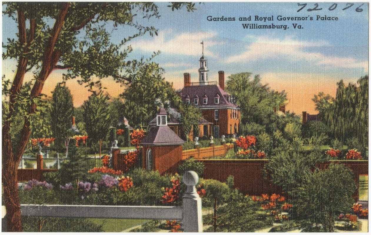 Gardens and The Royal Governor\'s Palace, Williamsburg, Va. - Digital ...