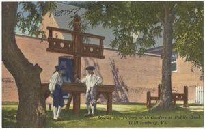Stocks and pillory with gaolers at the Public Gaol, Williamsburg, Va.