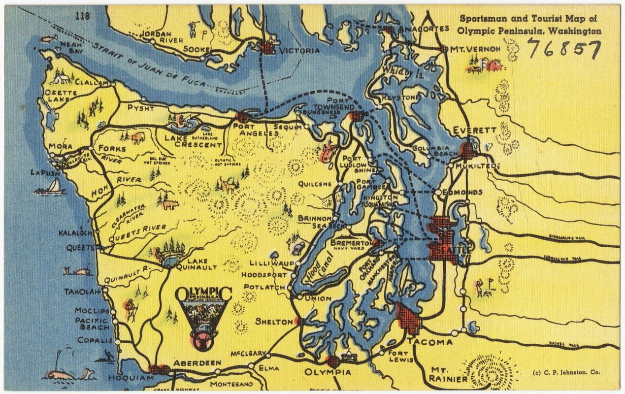 Sportsman and tourist map of Olympic peninsula Washington – Washington Tourist Map