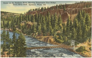 Scene on the Spokane River, showing suspension foot bridge, Down River Park, Spokane, Wash.