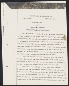 Herbert Brutus Ehrmann Papers, 1906-1970. Sacco-Vanzetti. Plymouth trial notes. Box 14, Folder 3, Harvard Law School Library, Historical & Special Collections
