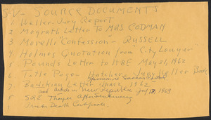 Herbert Brutus Ehrmann Papers, 1906-1970. Sacco-Vanzetti. Source documents, gathered mainly 1961-1963. Box 14, Folder 9, Harvard Law School Library, Historical & Special Collections