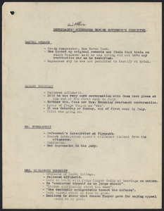 Herbert Brutus Ehrmann Papers, 1906-1970. Sacco-Vanzetti. Witnesses: notes on witnesses. Box 15, Folder 9, Harvard Law School Library, Historical & Special Collections
