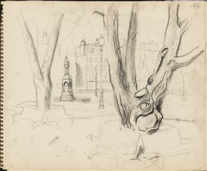 Sketch of Boston Public Garden with tree in foreground, statue in background