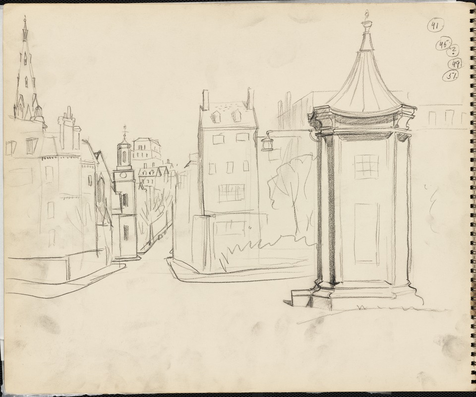 Sketch of police call box, Boston in background