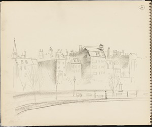 Sketch of view of Boston from Boston Public Garden