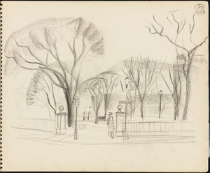 Sketch of the entrance to the Boston Public Garden