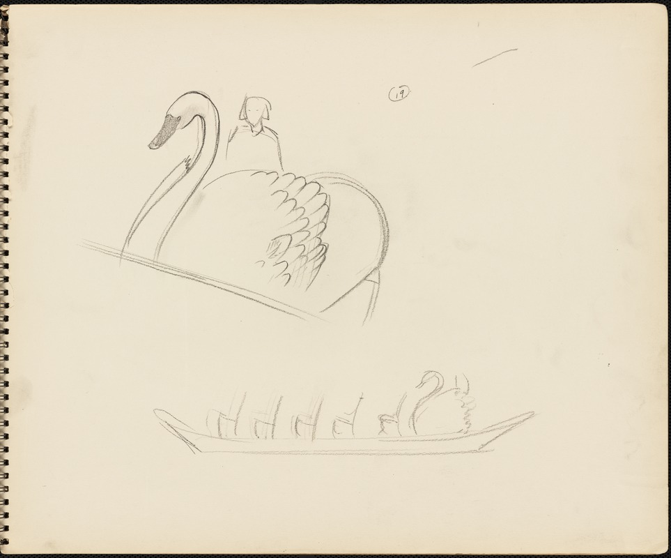 Sketches of swan boats