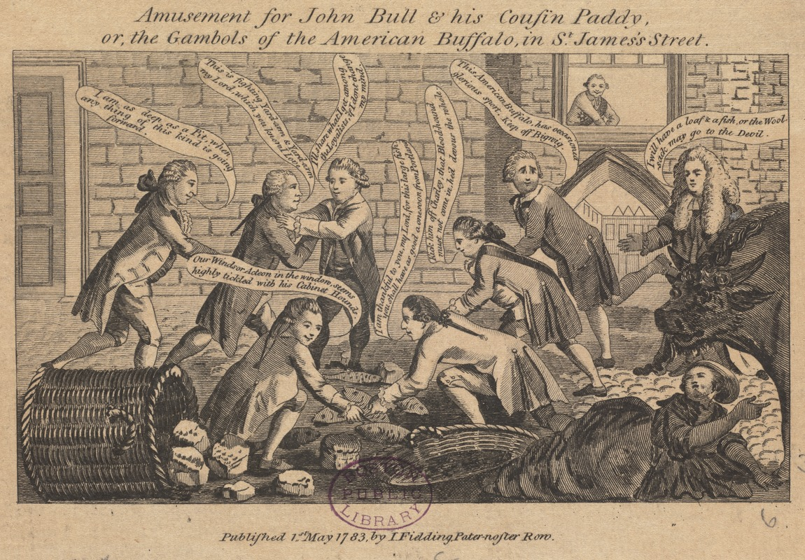Amusement for John Bull & his cousin Paddy, or, the gambols of the American buffalo in St. James's street