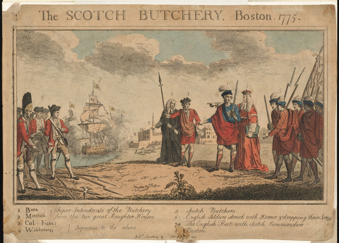 The Scotch butchery, Boston, 1775