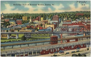 Bird's-eye view of business section, Easton, Pa.