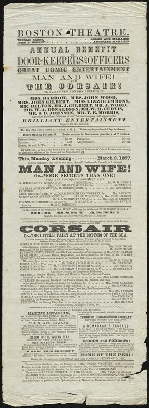 Man and Wife ; The Corsair