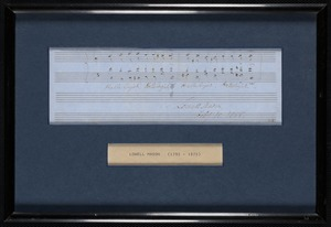 A framed score of music done in Lowell Mason's hand and dated 1858