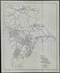 Map of the towns of Wakefield, Stoneham, Reading, North Reading, and Lynnfield, 1907
