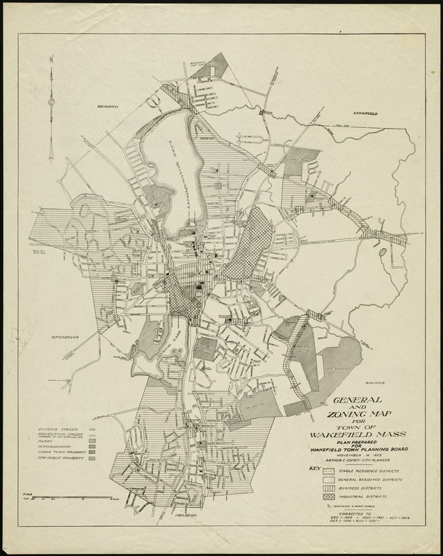 General and zoning map for town of Wakefield, Mass.