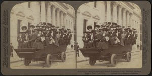 Automobile party of merry girls before the Appellate Court building, Madison Square, New York City