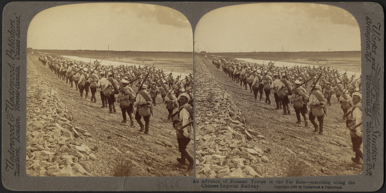 An advance of Russian troops in the far east - marching along the Chinese Imperial Railway