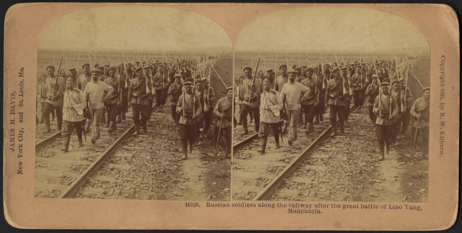 Russian soldiers along the railway after the great battle of Liao Yang, Manchuria
