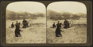 Before Liao Yang - brave Japanese in open field about to fire on masked Russian battery in the hills