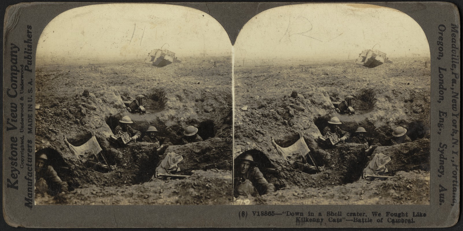 """""""Down in a shell crater we fought"""" - Battle of Cambrai"""