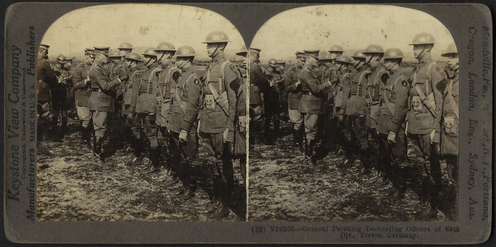Gen. Pershing decorating officers of 89th Div., Treves