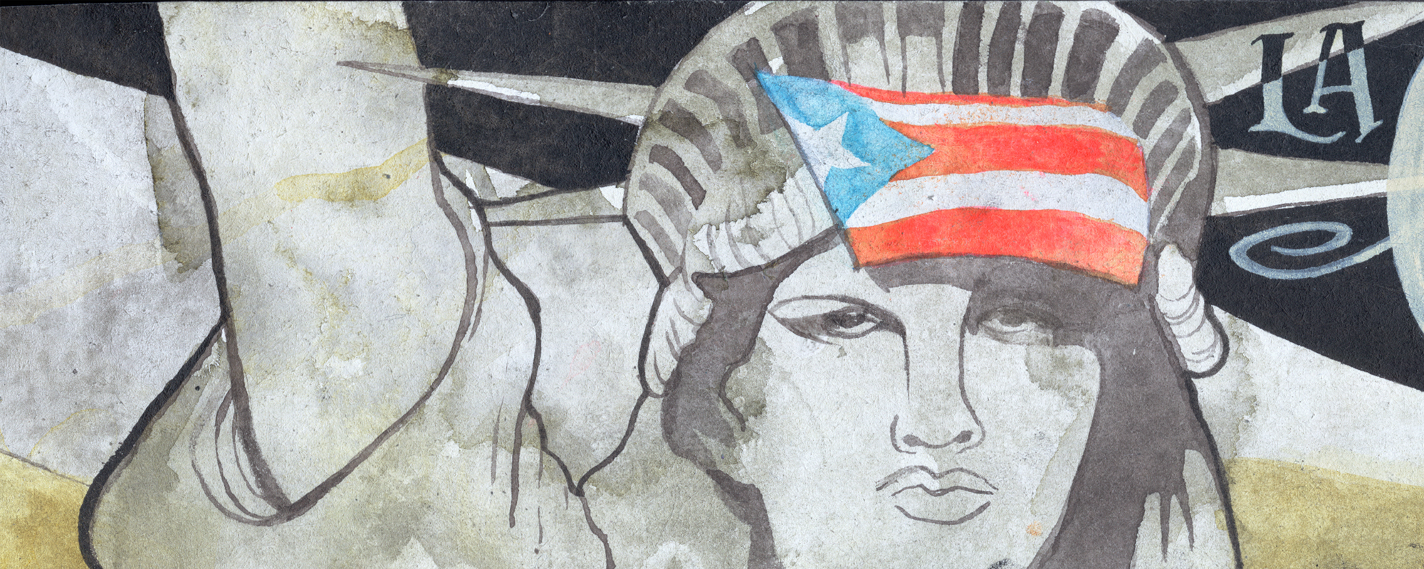 End the debt! Decolonize! Liberate Puerto Rico! Scroll