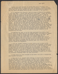 Sacco-Vanzetti Case Records, 1920-1928. Defense Papers. Account of Meeting with Vanzetti (anonymous), August 22, 1927. Box 20, Folder 11, Harvard Law School Library, Historical & Special Collections