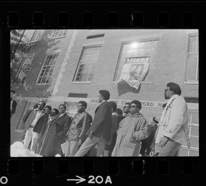 Members of the Afro-American Organization at Brandeis University gather in front of Ford Hall to make a statement that Black instructors should teach Black oriented courses