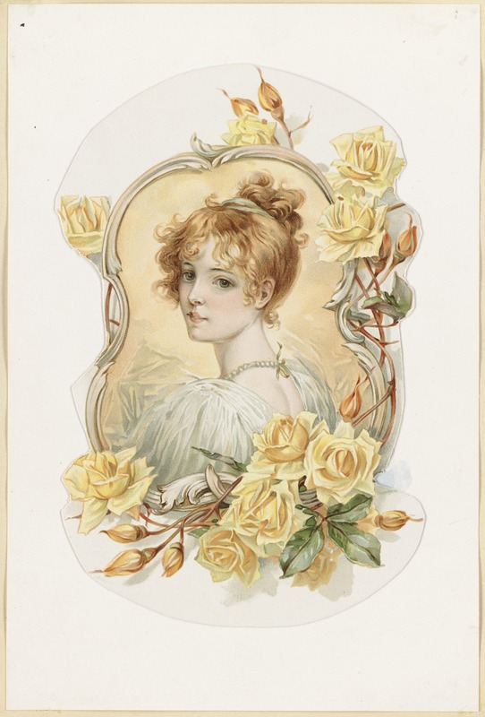 Woman's Portrait Enframed with Yellow Roses