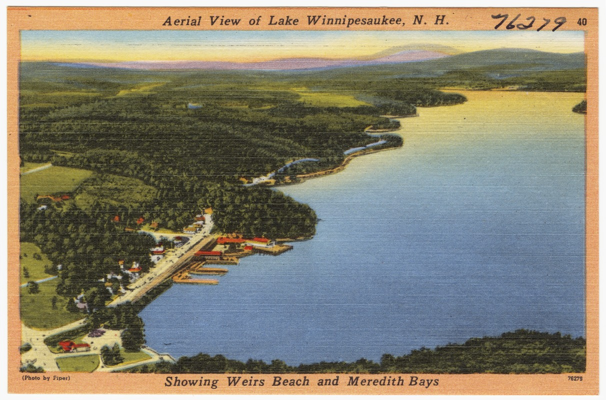 Aerial view of Lake Winnipesaukee, N.H., showing Weirs Beach and Meredith Bays