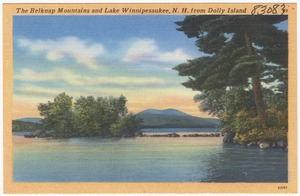 The Belknap Mountains and Lake Winnipesaukee, N.H. from Dolly Island