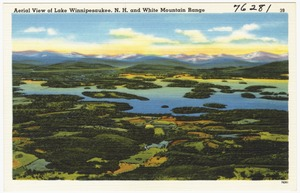 Aerial view of Lake Winnipesaukee, N.H. and White Mountain Range
