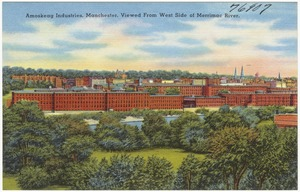 Amoskeag Industries, Manchester, viewed from west side of Merrimac River.