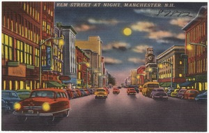 Elm Street at night, Manchester, N.H.