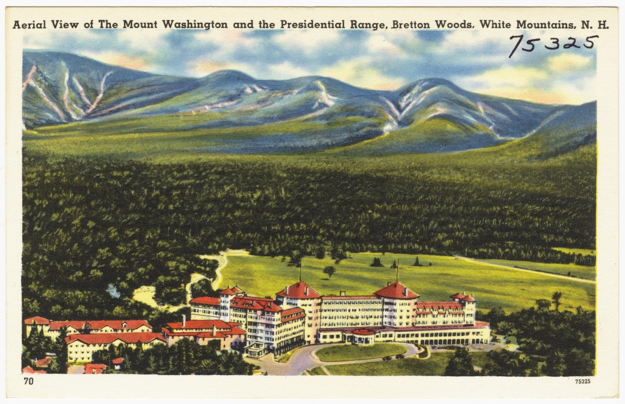 Aerial view of the Mount Washington and the Presidential Range, Bretton Woods, White Mountains, N.H.