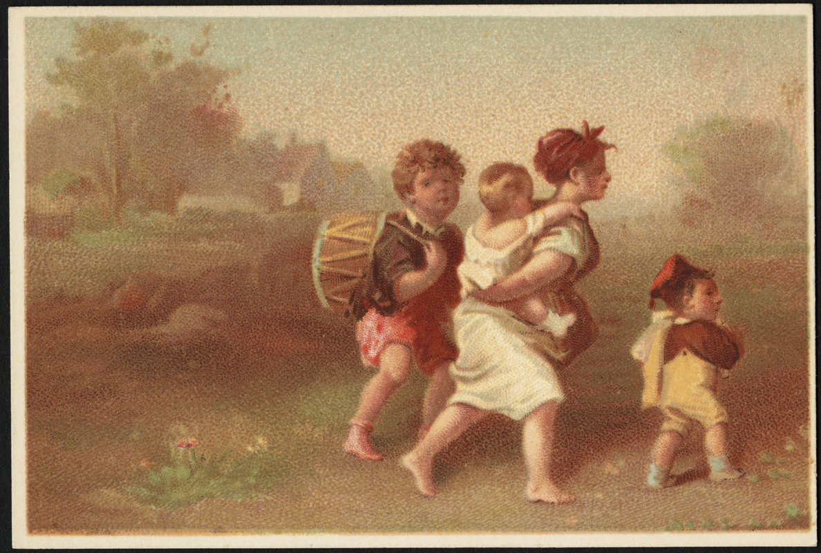 Woman holding a child, walking with man with drum and boy.