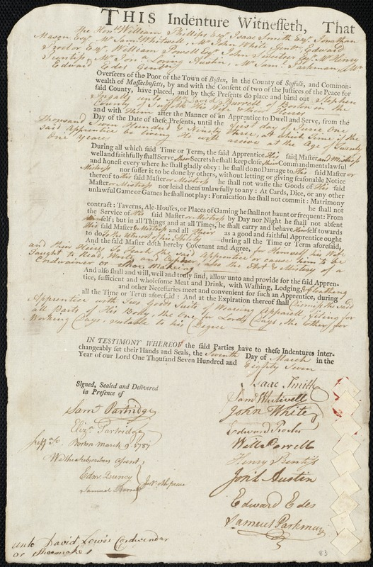Document of indenture: Servant: Ingalls, Stephen. Master: Burrell, David. Town of Master: Boston