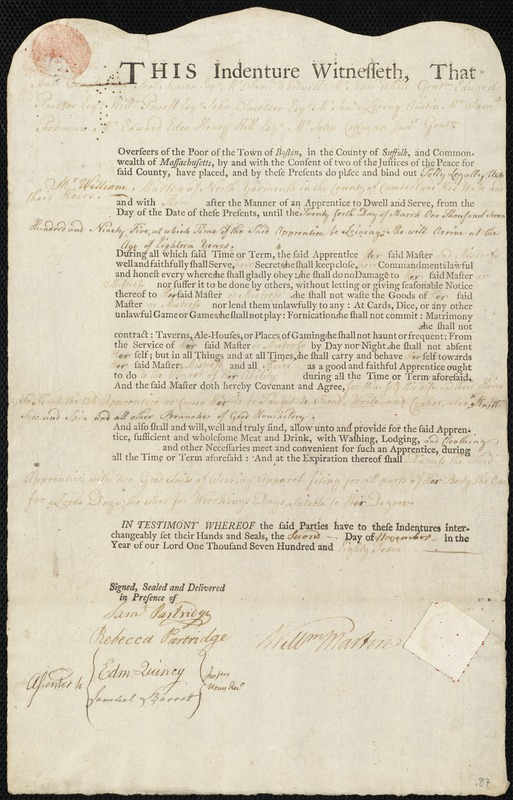 Document of indenture: Servant: Legally, Polly. Master: Marton, William. Town of Master: North Yarmouth