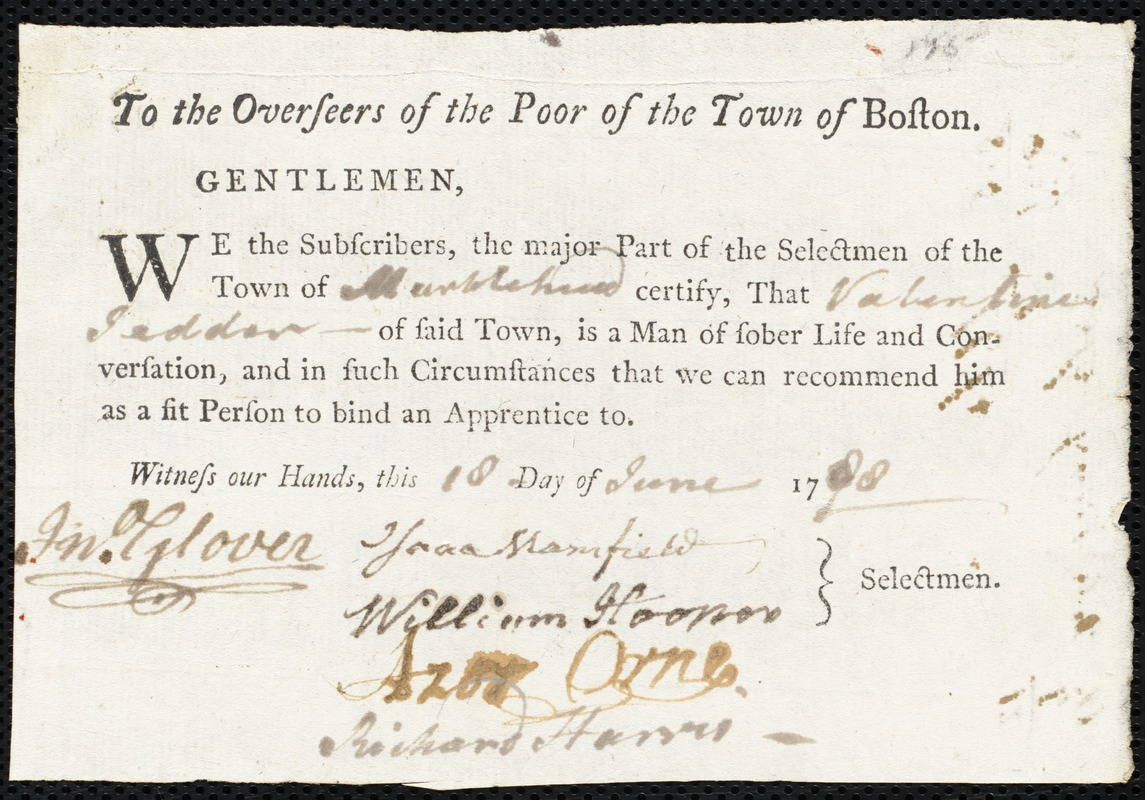 Document of indenture: Servant: Gosling, Samuel. Master: Tedder, Valentine. Town of Master: Marblehead. Selectmen of the town of Marblehead autograph document signed to the Overseers of the Poor of the town of Boston: Endorsement Certificate for Valentine Tedder.