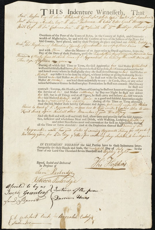 Document of indenture: Servant: Eddy, Sibble. Master: Hopkins, Thomas. Town of Master: Portland