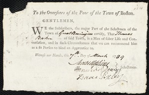 Document of indenture: Servant: Crane, Mary. Master: Baker, Thomas. Town of Master: Great Barrington. Selectmen of the town of Great Barrington autograph document signed to the Overseers of the Poor of the town of Boston: Endorsement Certificate for Thomas Baker.