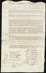 Document of indenture: Servant: Willit, John. Master: Munson, Samuel Dickerman. Town of Master: Truro