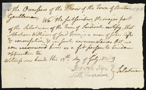 Document of indenture: Servant: Godard, Mary. Master: Williams, Abraham. Town of Master: Sandwich. Selectmen of the town of Sandwich autograph document signed to the Overseers of the Poor of the town of Boston: Endorsement Certificate for Abraham Williams.