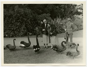 Helen Keller and Polly Thomson with Black Geese or Swans