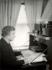 Helen Keller at Her Desk