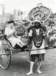 Helen Keller and Polly Thomson in a Rickshaw