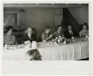 Helen Keller and Polly Thomson at a Banquet