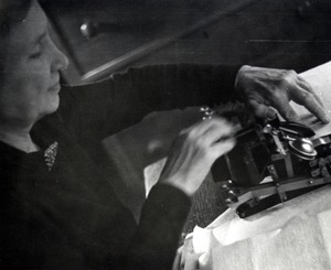 Helen Keller Typing on a Braillewriter